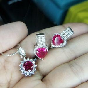 Jewelry - 925 Silver CZ necklace/earring set